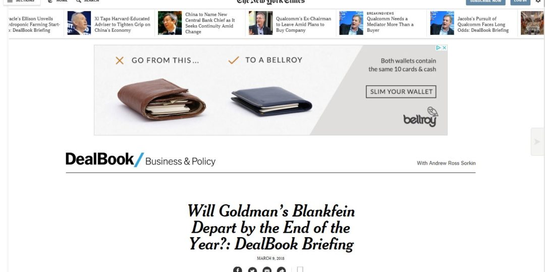 Will Goldman's Blankfein Depart by the End of the Year?: DealBook Briefing