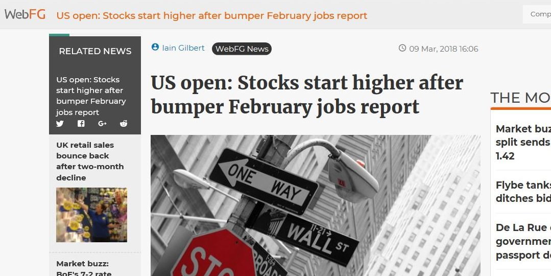 US open: Stocks start higher after bumper February jobs report