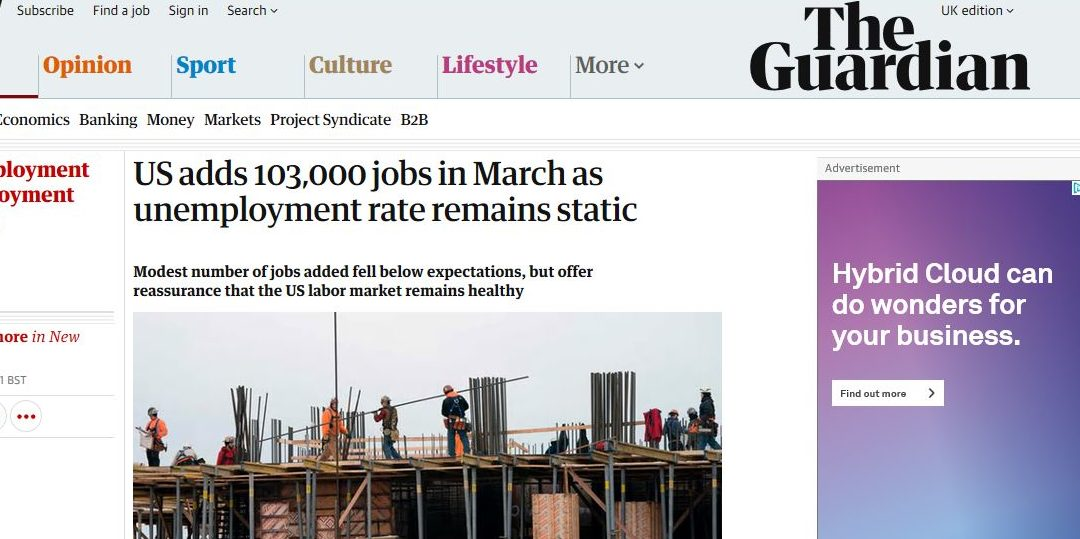 US adds 103,000 jobs in March as unemployment rate remains static