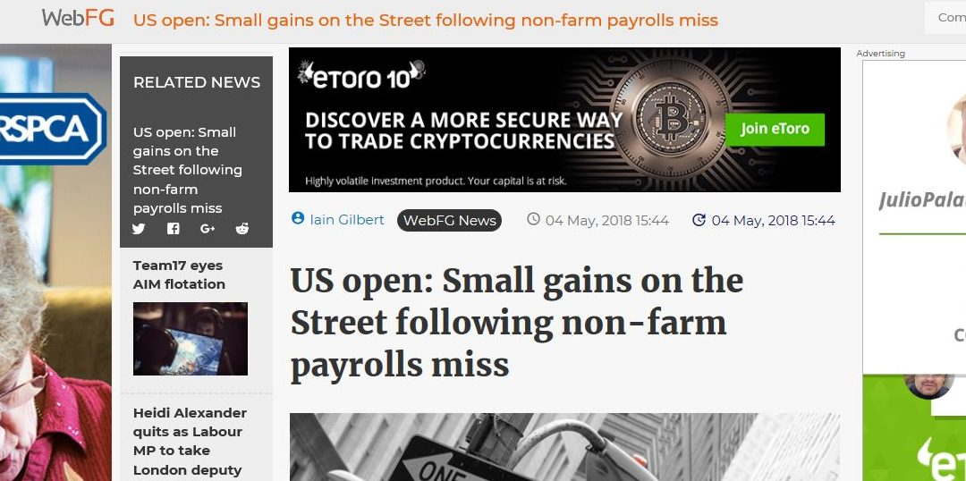 US open: Small gains on the Street following non-farm payrolls miss