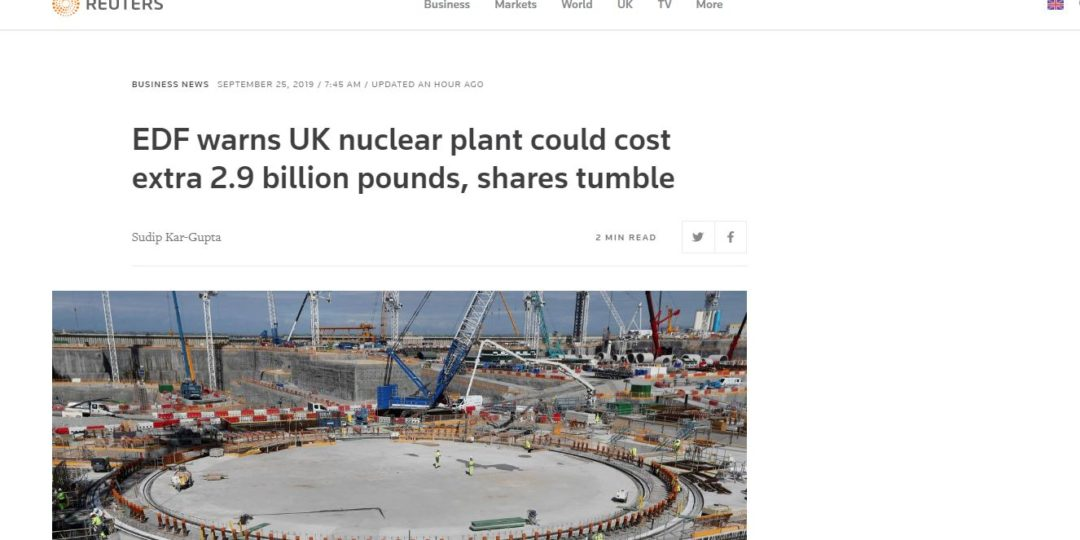 EDF warns UK nuclear plant could cost extra 2.9 billion pounds, shares tumble