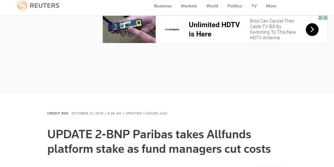 UPDATE 2-BNP Paribas takes Allfunds platform stake as fund managers cut costs