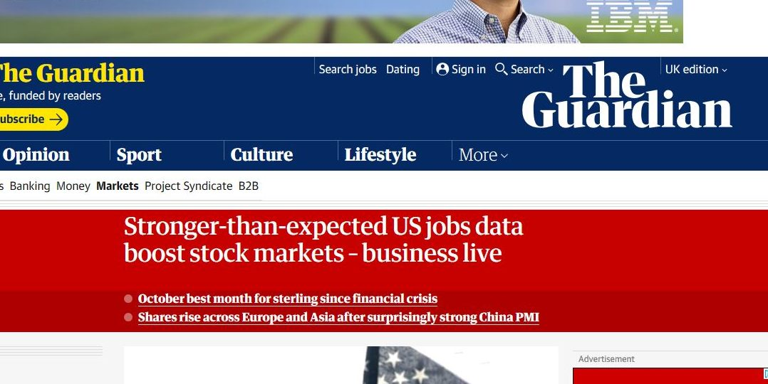 Stronger-than-expected US jobs data boost stock markets – business live