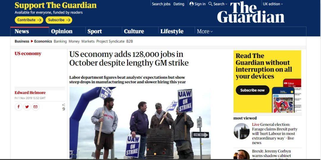 US economy adds 128,000 jobs in October despite lengthy GM strike