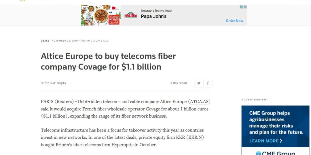 Altice Europe to buy telecoms fiber company Covage for $1.1 billion