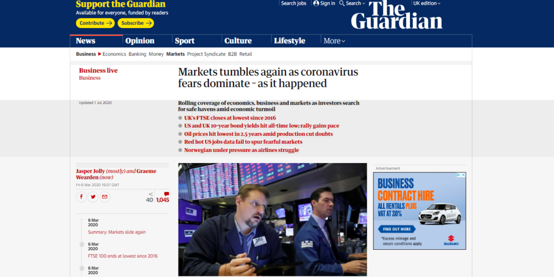 Markets tumbles again as coronavirus fears dominate