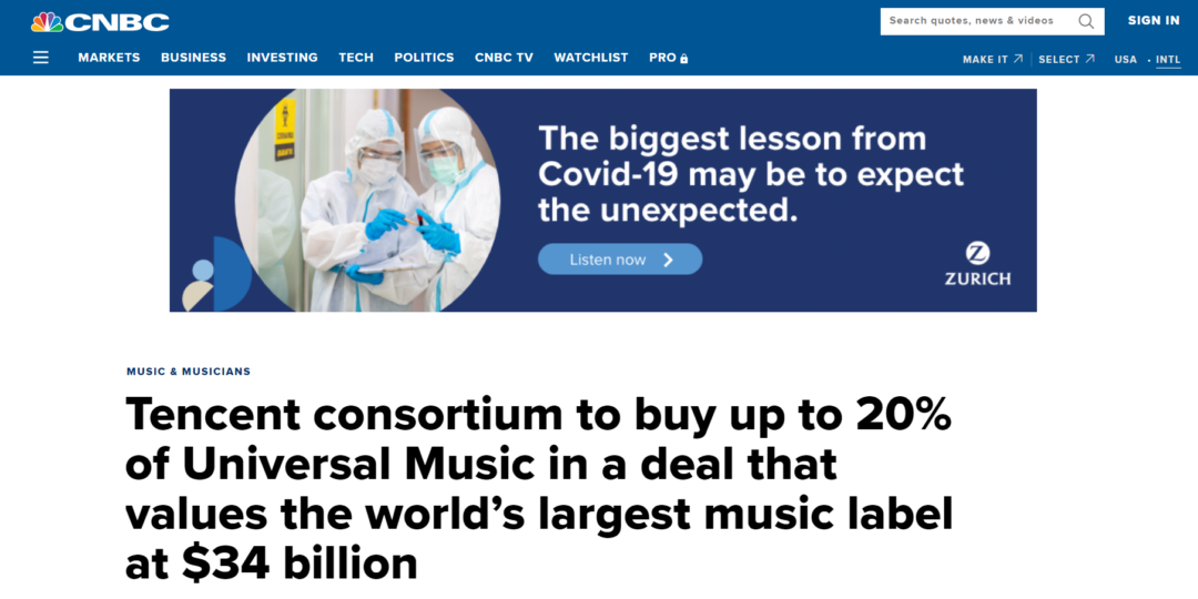 Tencent consortium to buy up to 20% of Universal Music in a deal that values the world's largest music label at $34 billion
